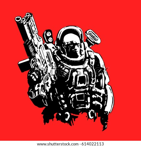 Stock Vector Heavy Space Marine In Suit With Large Plasma Rifle Science Fiction Original Character The Soldier