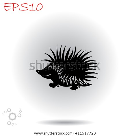 Hedgehog icon. Simple black vector symbol. Logo for web. Image for business.