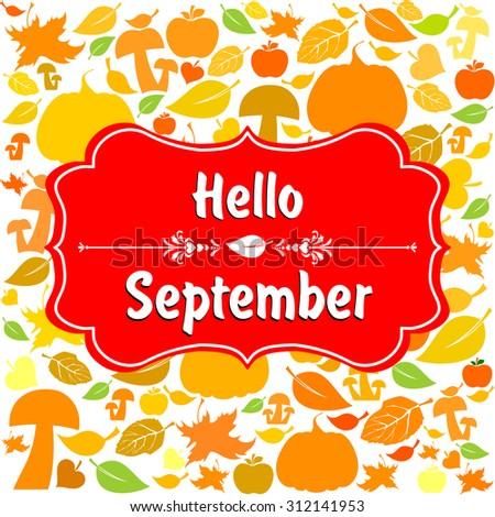 Autumn Background Pumpkins Maple Leaves Flat Stock Vector 211439362 - Shutter...