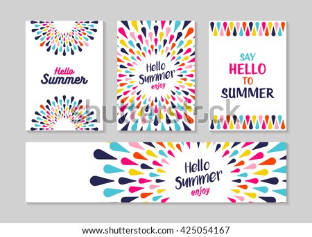 Hello summer lettering label or greeting card set designs, enjoy vacation concept with colorful decoration. Summertime party invitation or fun typography poster. EPS10 vector.