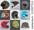 helmet collection for your head ride fly sport - stock vector