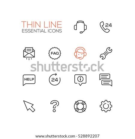 Help Center Modern Vector Simple Thin Line Design Icons Set Headset Phone