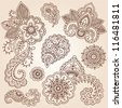 Henna Flowers and Paisley Mehndi Tattoo Doodles Set- Abstract Floral Vector Illustration Design Elements - stock vector