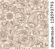 Henna Mehndi Tattoo Doodles Seamless Pattern- Paisley Flowers Illustration Design Elements - stock vector