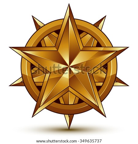 Heraldic 3d glossy icon can be used in web and graphic design, pentagonal golden star, clear EPS8 vector.