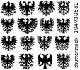 Heraldic eagle collection - vector silhouette - stock vector