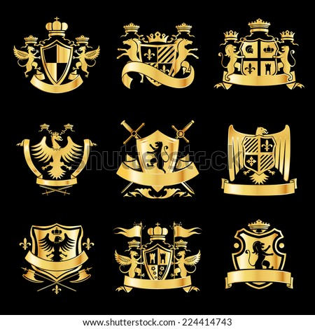 Heraldic royal art symbols decorative emblems golden set with griffin swords and ribbons isolated vector illustration