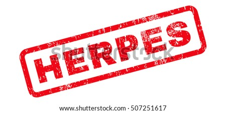 Herpes Text rubber seal stamp watermark. Caption inside rectangular shape with grunge design and dust texture. Slanted vector red ink sign on a white background.