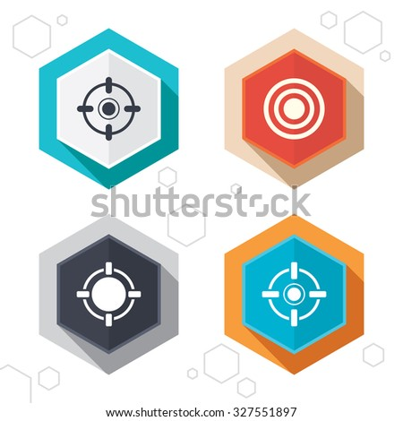 Hexagon buttons. Crosshair icons. Target aim signs symbols. Weapon gun sights for shooting range. Labels with shadow. Vector