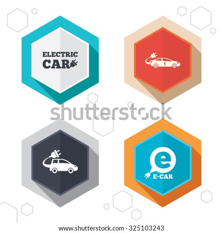 Hexagon buttons. Electric car icons. Sedan and Hatchback transport symbols. Eco fuel vehicles signs. Labels with shadow. Vector