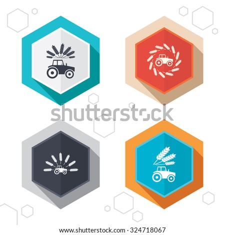 Hexagon buttons. Tractor icons. Wreath of Wheat corn signs. Agricultural industry transport symbols. Labels with shadow. Vector