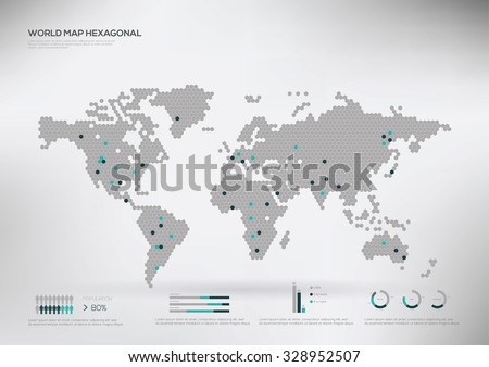 Vector world map infographic symbol north vectores en stock hexagon shape world map infographic vector illustration gumiabroncs Choice Image