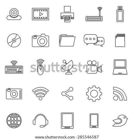 Hi-tech line icons on white background, stock vector