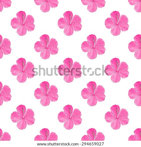 Hibiscus. Seamless pattern with flowers. Hand-drawn background. Vector illustration