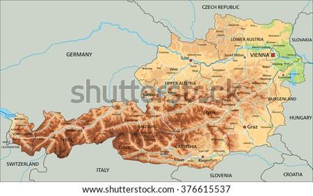 Austria Political Map Green Shades Map Stock Vector - Political map of austria