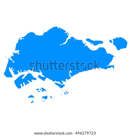 High detailed blue vector map - Singapore