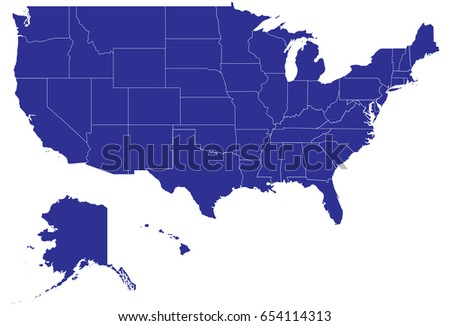 Map United States America State Names Stock Vector - Us alaska hawaii no states vector map