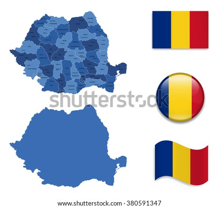 High Detailed Map of Romania With Flag Collection