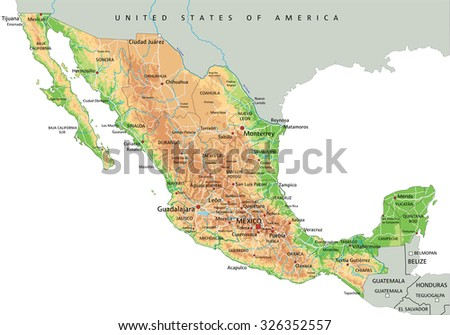 High Detailed Mexico Physical Map With Labeling