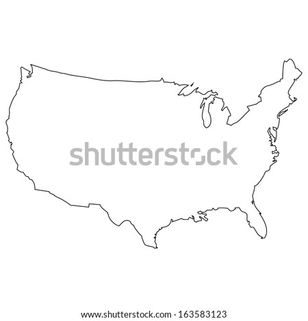 Usa Map Icon Outline Style United Stock Vector - Simple us map outline