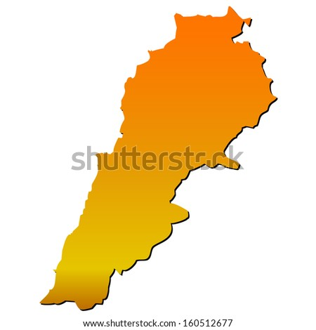 High detailed vector map with shadow in separated layer - Lebanon