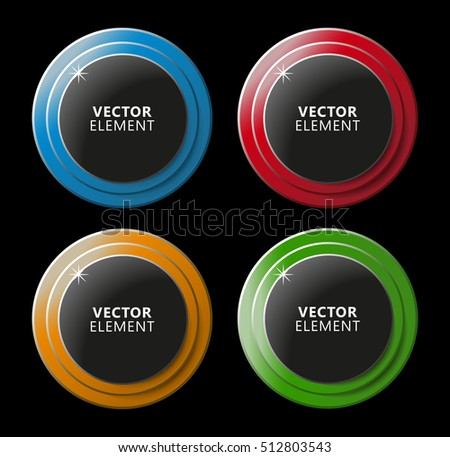 High Quality Modern Color Buttons on Black Background. Vector Isolated Illustration.