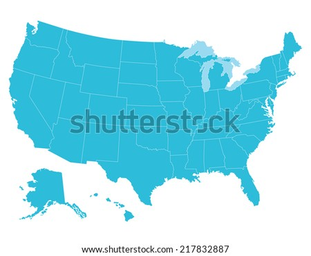 High Quality United States Map America Stock Vector - Us map with states that can be colored