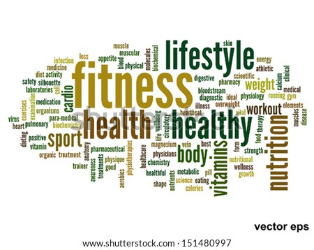 High Resolution Concept Or Conceptual Abstract Word Cloud On White Background As Metaphor For Health