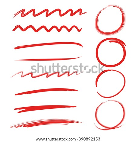 highlighter circles, abstract doodle writing design, brush lines, underlines