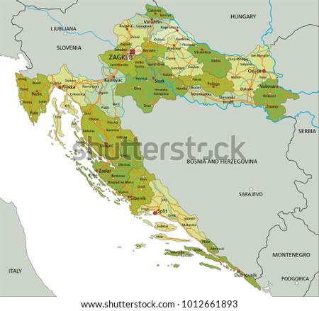 High Detailed Croatia Physical Map Labeling Stock Vector - Croatia physical map