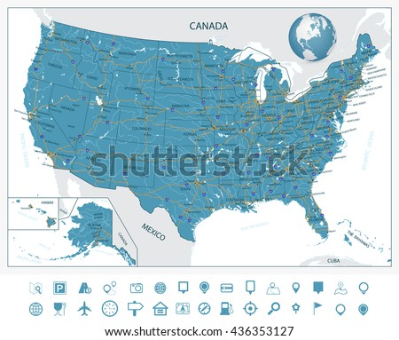Usa Alaska Hawaii Map Separate Individual Stock Vector - The united states hawaii alaska map