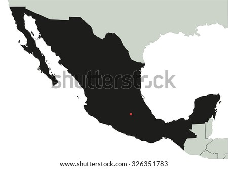 Highly Detailed Mexico Silhouette map.