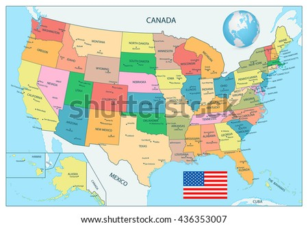 Highly Detailed Map United States Cities Stock Vector - Detailed usa map with states and cities