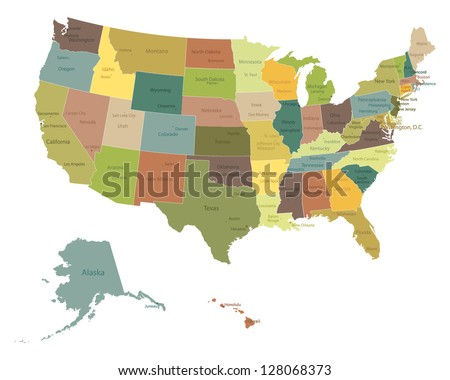 Highly Detailed Political Usa Map Names Stock Vector - Usa map with name of states