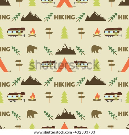 Hiking seamless pattern. Hiking trail seamless wallpaper design. Equipment for outdoor walking background for print. Hiking or gear rustic pattern- tent, rv, bonfire. Hike park pattern design. Vector.
