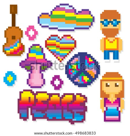 Hippie icon set. Pixel art. Old school computer graphic style. Games elements.