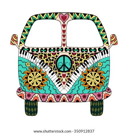 hippie vintage car mini van zentangle stock vector 390519571 shutterstock. Black Bedroom Furniture Sets. Home Design Ideas