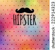 hipster card with a mustache and a pattern of peas on watercolor background SWAG filter style. EPS 10 - stock vector
