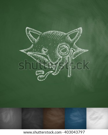 hipster fox icon. Hand drawn vector illustration. Chalkboard Design