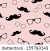 Hipster man style graphic elements, glasses and mustaches. vector illustration background pattern  - stock vector