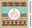 Hipster seamless aztec pattern with geometric elements and quotes typographic text - stock vector