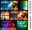 Hitech Abstract Business Backgrounds Collection with Abstract Glowing motive and 3D earth. - stock photo