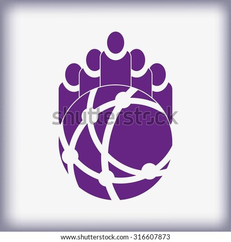 Holding globe, social network icon, vector illustration. Flat design style