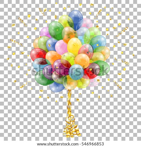 Holiday Background with Balloons, Streamer and Confetti on transparent background, isolated vector illustration