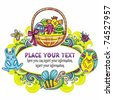 Holiday Easter Frame with white space for your text 4: Traditional basket with colorful painted easter eggs, cute bumblebee, funny, bunny. Floral elements like flowers and plants - stock vector