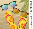 Holiday greeting card with sun glasses, flip-flops and Palm leaves. Vector Illustration - stock