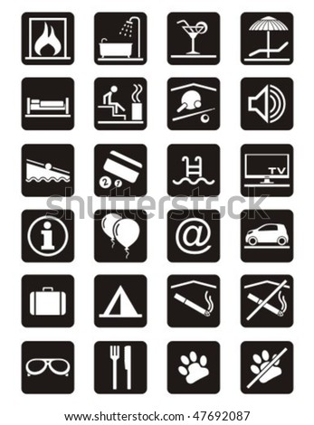 Holiday leisure. Service icons set.