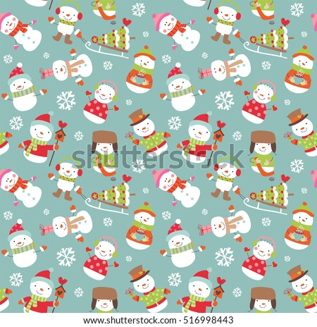 Holiday seamless background with cute funny snowmen