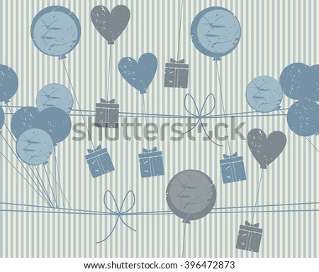 Holiday seamless pattern with gifts, hearts and balloons. Stylish background for your designs. Vector image.