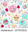 Holiday seamless pattern with sweets and coffee. - stock vector
